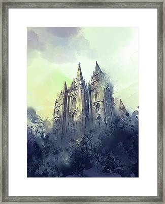 Salt Lake City Temple Watercolor 4 Framed Print