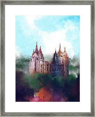Salt Lake City Temple Watercolor Framed Print