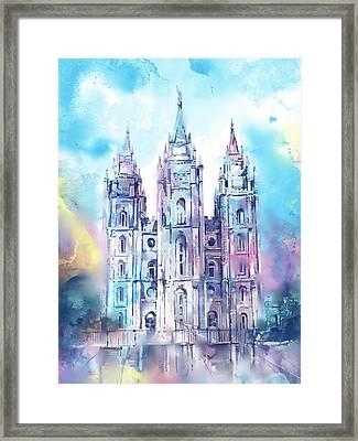 Salt Lake City Temple Waterocolor 5 Framed Print