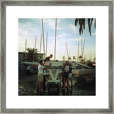 San Diego Boatyard Framed Print by Slim Aarons
