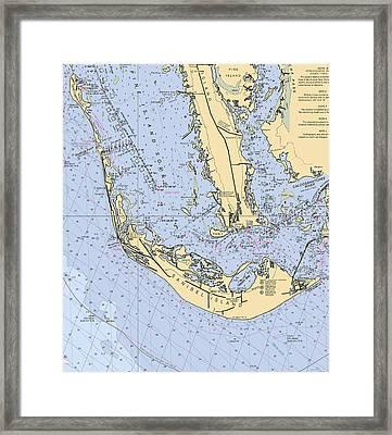 Sanibel And Captiva Islands Nautical Chart Framed Print