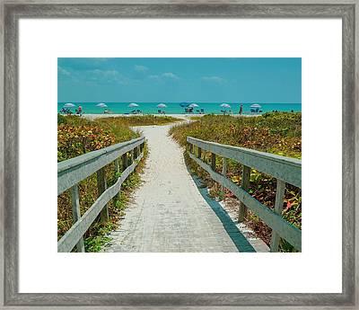 Sanibel Beach Umbrellas Framed Print