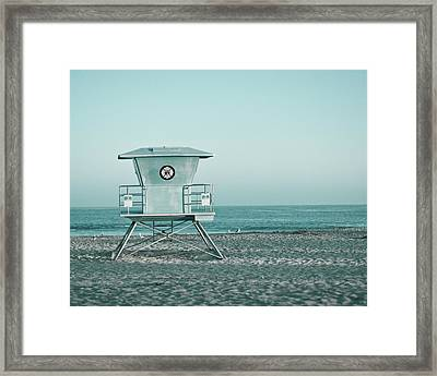 Framed Print featuring the photograph Santa Cruz California Lifeguard Tower by Melanie Alexandra Price