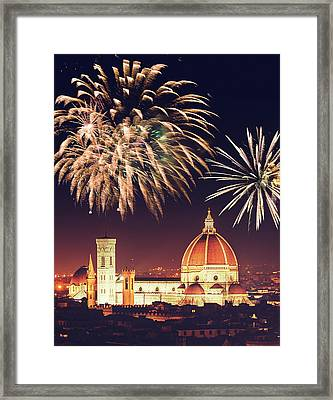 Santa Maria Del Fiore Dome In Florence Framed Print by Franckreporter