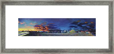 Santa Monica Sunset Panorama Framed Print