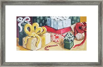Framed Print featuring the painting Santa Was Here by Maria Langgle