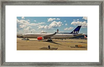Sas Airbus A330 At Newark Liberty International Airport Framed Print