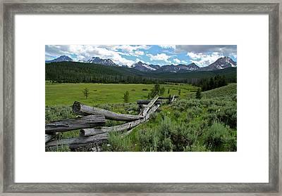 Sawtooth Range And 1975 Pole Fence Framed Print