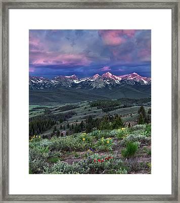 Sawtooth Sunrise Framed Print by Leland D Howard