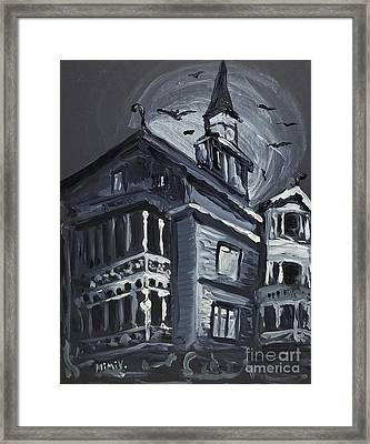 Framed Print featuring the painting Scary Old House by Maria Langgle