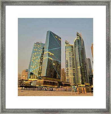 Scene Of Dubai Marina, Dubai, United Arab Emirates Framed Print