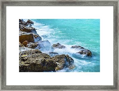 Sea Rocks In Montego Bay Framed Print