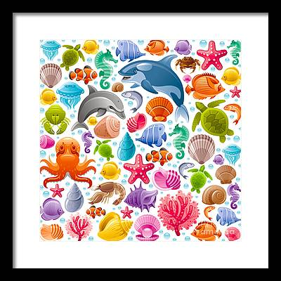 Reef Diving Digital Art Framed Prints