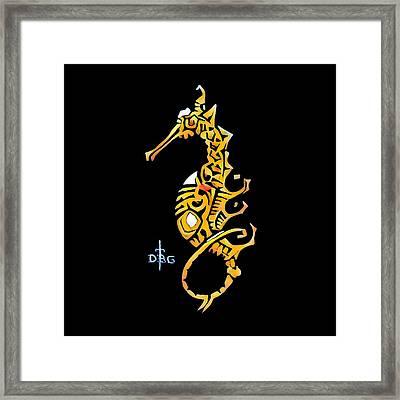 Seahorse Golden Framed Print