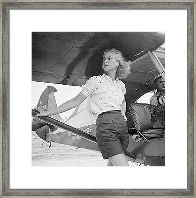Seaplane At Palm Beach Framed Print by Slim Aarons