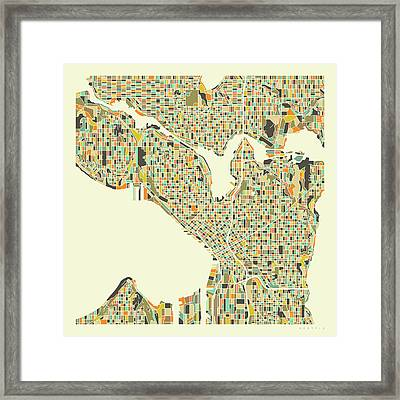 Seattle Map 1 Framed Print
