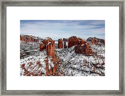Sedona, Az Snow Framed Print