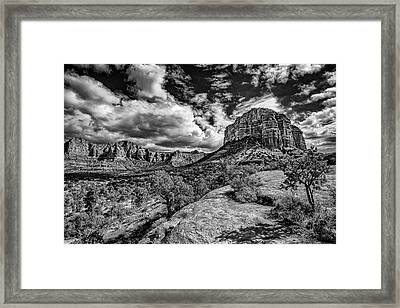 Sedona Landscape B And W Framed Print
