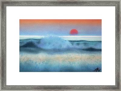 Setting Sun, Waves Of Glass Framed Print by Robin Street-Morris