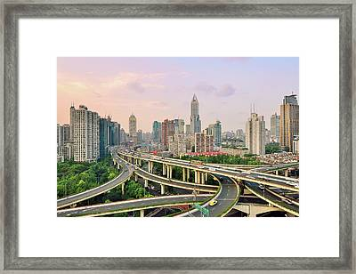 Shanghai Overpass At Dusk Framed Print by Fei Yang