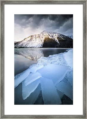 Framed Print featuring the photograph Shattered Ice / Lake Mcdonald, Glacier National Park  by Nicholas Parker