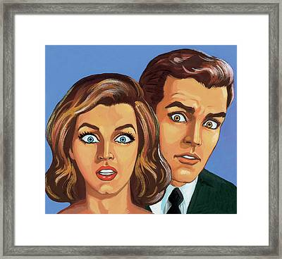 Shocked Couple Framed Print