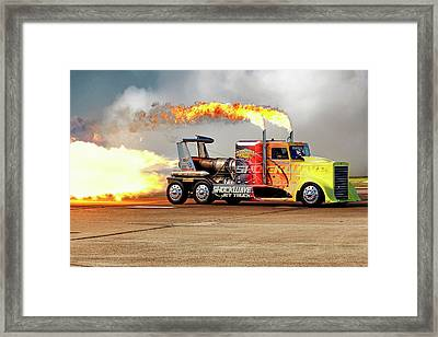 Framed Print featuring the photograph Shockwave Jet Truck - Nhra - Peterbilt Drag Racing by Jason Politte