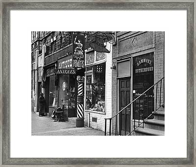 Shops On St Marks Place Framed Print by Fred W. McDarrah