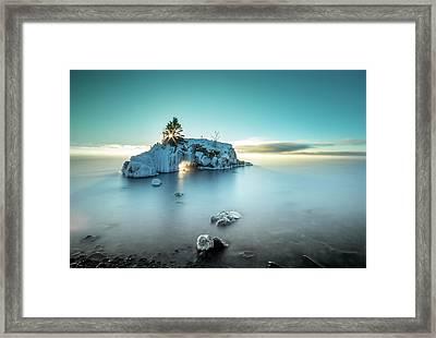 Shoreline Light Show / Lake Superior, Minnesota  Framed Print