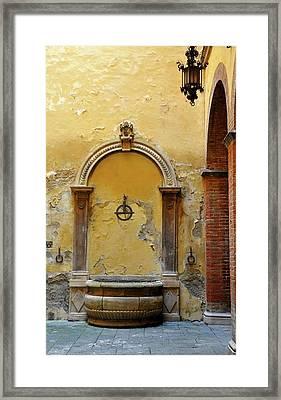 Sienna Fountain Courtyard Framed Print