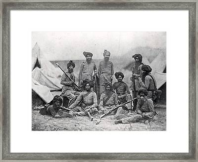 Sikh Soldiers Framed Print by Felice Beato
