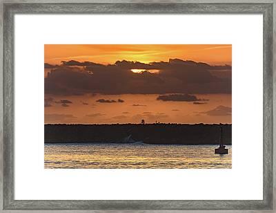 Silhouettes, Breakwall And Sunrise Seascape Framed Print