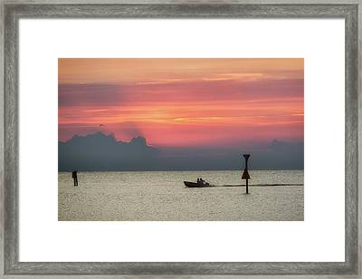 Silhouette's Sailing Into Sunset Framed Print