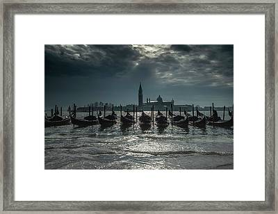 Silver And Blue Framed Print