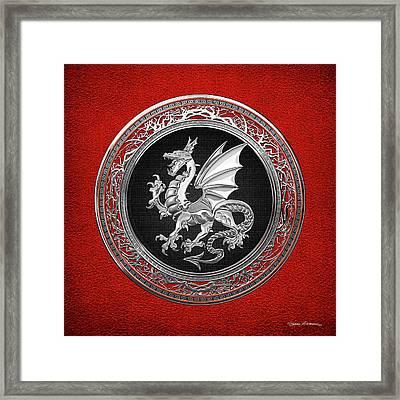 Silver Winged Norse Dragon - Icelandic Viking Landvaettir On Black And Silver Medallion Over Red  Framed Print