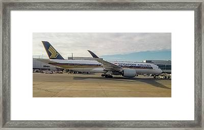 Singapore Airlines Airbus A350 At San Francisco International Airport Framed Print