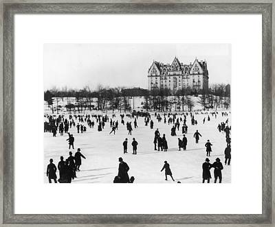 Skating In Central Park, Nyc Framed Print by Fotosearch