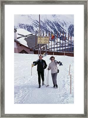 Skiers At St. Moritz Framed Print by Slim Aarons