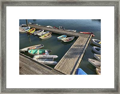 Skiffs In Rockland Harbor Framed Print