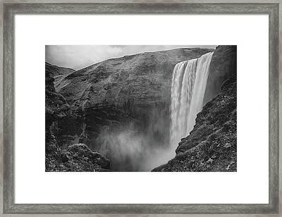 Skogafoss Iceland Black And White Framed Print