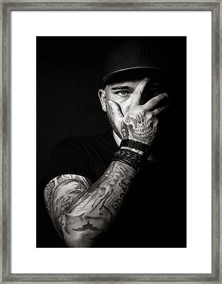 Skull Tattoo On Hand Covering Face Framed Print