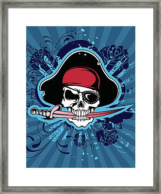 Skull With Pirates Hat, Eyepatch And Framed Print by New Vision Technologies Inc