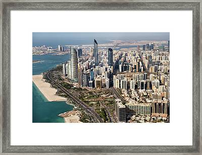 Skyscrapers And Coastline In Abu Dhabi Framed Print by Extreme-photographer