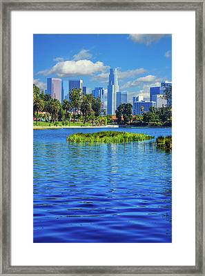 Skyscrapers Of Los Angeles Framed Print by Ron thomas