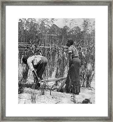 Slaves Ploughing Framed Print by Fotosearch