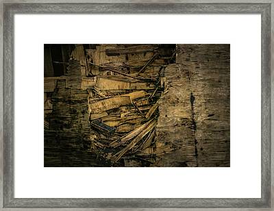 Smashed Wooden Wall Framed Print