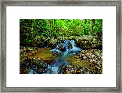 Framed Print featuring the photograph Smith Creek Cascade by Andy Crawford