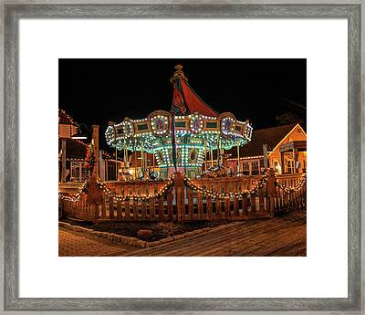 Framed Print featuring the photograph Smithville Carousel At Night by Kristia Adams