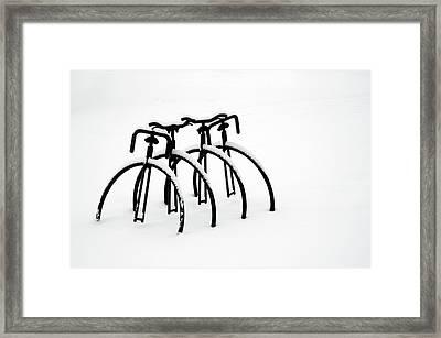 Snow Bikes Framed Print by Dana Klein