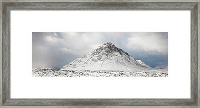 Framed Print featuring the photograph Snow Covered Mountain - Glencoe by Grant Glendinning